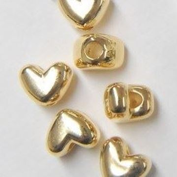 Heart Pony Beads - Gold
